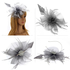 AGF00218 - Grey Feather & Flower Mesh Fascinator