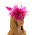 AGF00218 - Purple Feather & Flower Mesh Fascinator