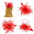 AGF00218 - Red Feather & Flower Mesh Fascinator