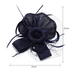 AGF00222 - Navy Feather & Flower Hat Mesh Fascinator