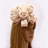 AGF00222 - Nude Feather & Flower Hat Mesh Fascinator