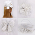AGF00222 - White Feather & Flower Hat Mesh Fascinator