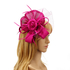 AGF00222 - Purple Feather & Flower Hat Mesh Fascinator