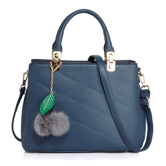 AG00537M - Navy Tote Shoulder Bag With Faux-Fur Charm