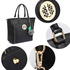 AG00404 - Black Tote Bag With Faux-Fur Charm