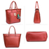 AG00404 - Red Tote Bag With Faux-Fur Charm