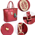 AG00404 - Burgundy Tote Bag With Faux-Fur Charm