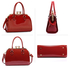 AG00378 - Burgundy Patent Satchel With Metal Frame