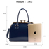 AG00378 - Navy Patent Satchel With Metal Frame