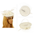 AGF00219 - Ivory Mesh Hat Feather Fascinator