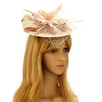 AGF00219 - Nude Mesh Hat Feather Fascinator