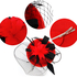 AGF00219 - Black / Red Mesh Hat Feather Fascinator