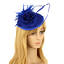 AGF00220 - Royal Blue Feather & Flower Fascinator