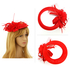 AGF00221 - Red Feather Hat Mesh Beaded Fascinator
