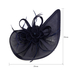 AGF00223 - Navy Feather & Flower Fascinator