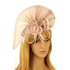 AGF00223 - Nude Feather & Flower Fascinator