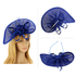 AGF00223 - Royal Blue Feather & Flower Fascinator