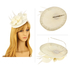 AGF00225 - Ivory Feather & Flower Hair Fascinator