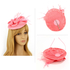 AGF00225 - Pink Feather & Flower Hair Fascinator