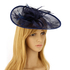 AGF00226 - Navy Mesh Hat Feather Fascinator