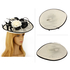AGF00230 - Ivory / Black Feather & Flower Mesh Hat Fascinator