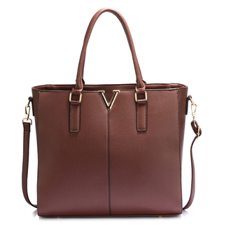 AG00420 - Coffee Split Design Tote Handbag