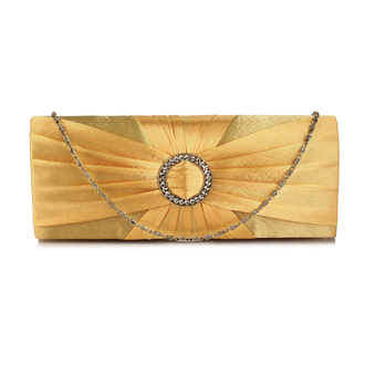LSE00269 - Wholesale & B2B Gold Sparkly Crystal Satin Evening Bag Supplier & Manufacturer