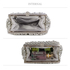 AGC00296 - Silver Vintage Beads Pearls Crystals Evening Clutch Bag
