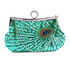 LSE00297 - Emerald Sequin Peacock Feather Design Clutch Evening Party Bag