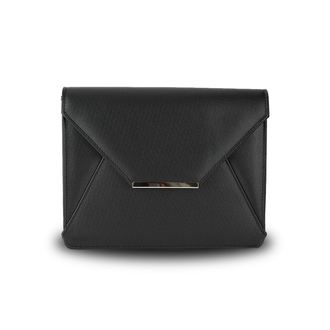 AGC00307A -  Black Flap Clutch Purse