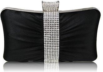 LSE0048 - Gorgeous Black Crystal Strip Clutch Evening Bag