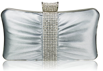LSE0048 - Wholesale & B2B Gorgeous Silver Crystal Strip Clutch Evening Bag Supplier & Manufacturer