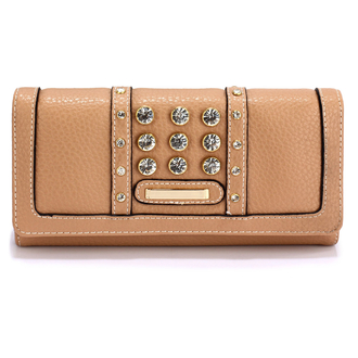 LSP1041A - Nude Purse/Wallet With Crystal Decoration