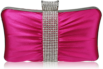 LSE0048 - Gorgeous Pink Crystal Strip Clutch Evening Bag