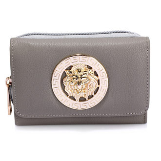 AGP1064A - Grey Purse/Wallet with Metal Decoration