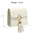 AGC00348 - Ivory Flap Clutch Purse With Tassel