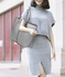 AG00548 - Grey Shoulder Bag With Silver Metal Work And Removable Pouch