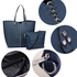 AG00548 - Navy Shoulder Bag With Silver Metal Work And Removable Pouch