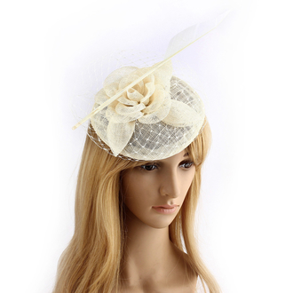 AGF00234 - Ivory Feather & Flower Mesh Hat Fascinator