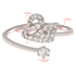 AGR0076 - Silver Crystal Adjustable Swan Ring