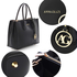 AG00559 - Black Grab Tote Handbag With Gold Metal Work
