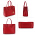 AG00559 - Burgundy Grab Tote Handbag With Gold Metal Work