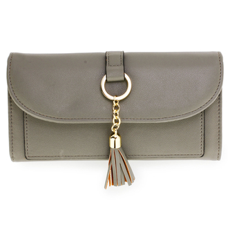 AGP1091 - Grey Flap Purse/Wallet With Tassel