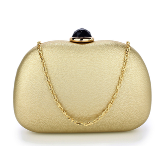 AGC00352 - Gold Hard Case Rhinestone Evening Clutch Bag
