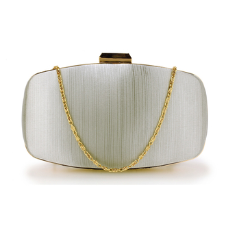 AGC00354 - Silver Satin Evening Clutch Bag