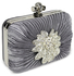 LSE0063 - Sparkly Silver Crystal  Flower evening clutch bag