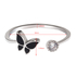 AGR0049 - Silver Crystal Butterfly Adjustable Ring