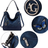 AG00556 - Navy Butterfly Hobo Bag With Black Metal Work