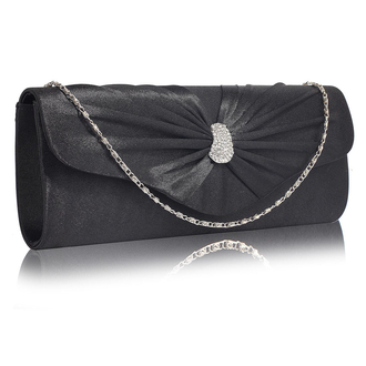 LSE0067- Black Sparkly Crystal Satin Clutch purse