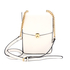 AG00586 - White Flap Twist Lock Cross Body Bag